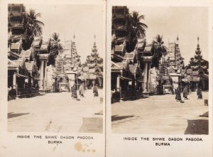 Inside The Shwe Dragon Shwedagon Myanmar Pagoda 2x Old Cigarette Card s