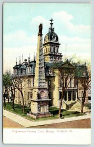 Freeport Illinois~Stephenson County Courthouse~Civil War Monument in Front~1908