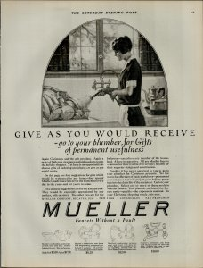 1924 Mueller Faucets Without a Fault Women Cleaning Dishes Vintage Print Ad 3962