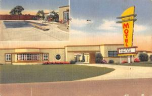 Dallas Texas pool and entrance Skyline Motel linen antique pc Z21530
