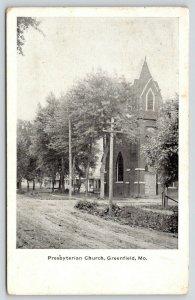 Greenfield Missouri~Presbyterian Church~Neighborhood Homes~Dirt Road~1910 B&W PC