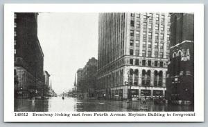 Louisville Kentucky~Broadway East @ Fourth Heyburn Building~1937 Flood~B&W PC
