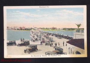 ST. PETERSBURG FLORIDA MUNICIPAL PIER 1920's CARS ANTIQUE