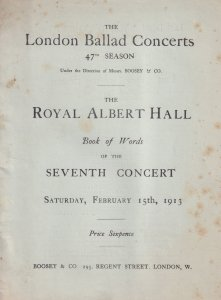 Felice Lyne Carrie Tubb Albert Hall 1913 Classical Theatre Programme