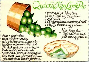 Postcard Quickie Key Lime Pie Recipe Ft Myers Florida Die Cut Unposted 1641
