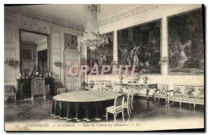Old Postcard Compiegne Chateau Du Conseal Hall Of Ministers