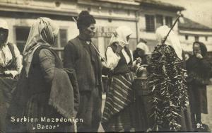 macedonia, Native Types, Serbian People on Peasant Market (1921) RPPC