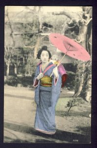 JAPAN - Tansan ad J. Clifford-Wilkinson Young lady in National Costume parasol
