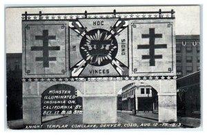 DENVER, CO Colorado ~ KNIGHTS TEMPLAR CONCLAVE Giant Lit Sign 1913 Postcard
