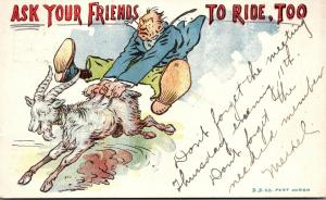 Humour Man Riding Goat Ask Your Friends To Ride Too 1906