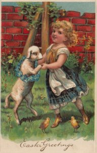 EASTER, PU-1909; Girl dancing with sheep, Forget-Me-Not wreath, chicks, PFB 7482
