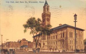Massachusetts  Worcester, City Hall and Main Street. Trollys
