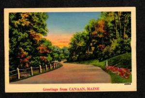 ME Greetings From CANAAN MAINE Postcard Linen PC