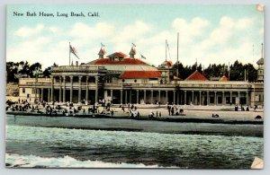 Long Beach California~New Bath House~Bathers on Beach~c1910 Postcard