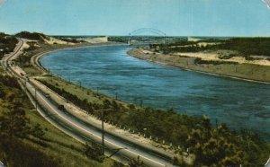 Scenic Highway Along Cape Cod Canal, MA, Sagamore Bridge, 1953 Postcard g9099