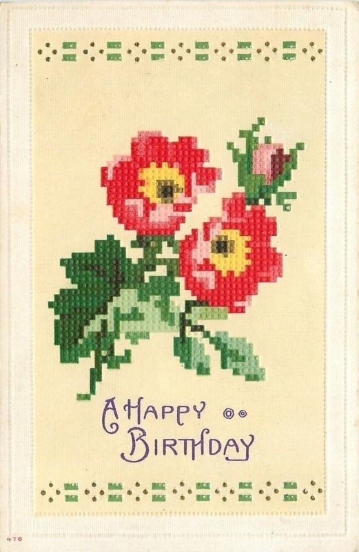 Pink Flower Green Leaf Cross Stitch on Yellow Back~Happy Birthday~Emboss~1912