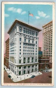 Postcard PA Philadelphia Manufacturer's Club Broad & Walnut Streets 1919 I24