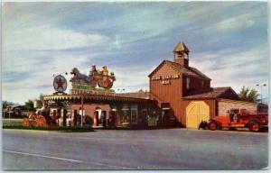 Las Vegas, Nevada Postcard HOTEL LAST FRONTIER Texaco Gas Fire Station Unused
