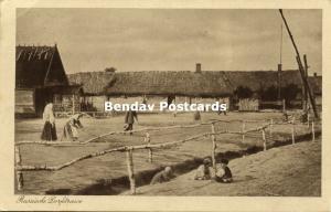 russia, Russian Village Street, Farm House, Well (1917) WWI Feldpost