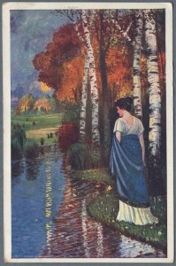 Old Postcard Girl in White Dress Toga at Riverbank by S. Pohl