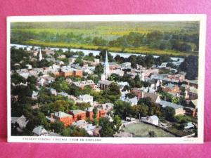 Postcard VA Fredericksburg Scene from Airplane