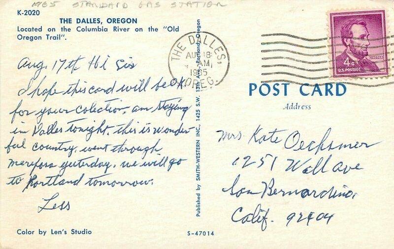 Columbia River Oregon Dalles Standard Gas Station Smith Western Postcard 9622