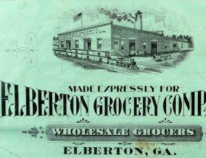 1880's-90's Elberton Grocery Company Wholesale Crate Label Engraved GA Train  *T