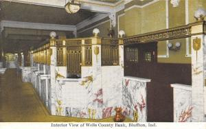 Bluffton Indiana~Wells County Bank Interior~Teller Cages~Brass Spittoon~1908 PC