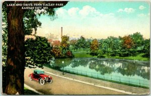 Kansas City, Missouri Postcard Lake and Drive, PENN VALLEY PARK Curteich 1910s