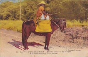 Milkmaid On A Donkey Returning From Market, Port-Au-Prince, Haiti, 1900-1910s
