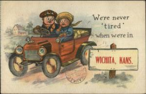 Wichita KS Kids in Car Comic Greeting c1910 Postcard