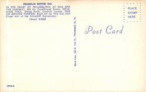 Philadelphia Pennsylvania~Franklin Motor Inn~Unique Y Shaped Bldg~1950s Postcard
