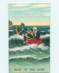 Bamforth comic TWO MEN GETTING SEASICK IN ROWBOAT HJ1945