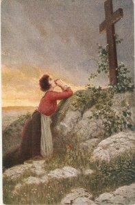 Lady praying to Cross in mountain Old vintage German postcard