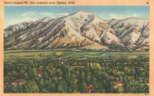 Snow-capped Mt. Ben Lomond near Ogden, Utah unused linen ...
