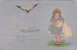 Birth Stork Delivering Baby 1915