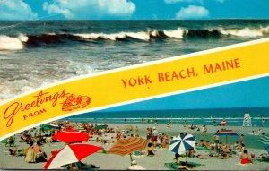 Maine York Beach Greetings Beach Scene & Rough Surf 1960