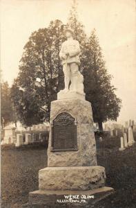 F19/ Allentown Pennsylvania RPPC Postcard c1920 Wenz Honor Roll Monument