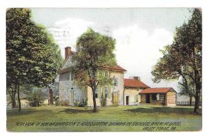 PA Valley Forge Rear View Gen Washingtons Headquarters Log House Vntg Postcard