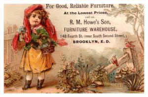 Child, Flowers, R.M. Howe's Brooklyn E.D. Victorian Trade Card