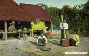 burma, A Burmese Village Scene (1910s) D.A. Ahuja Postcard No. 22