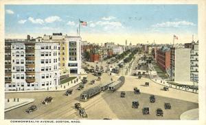 Trolley on Commonwealth Avenue - Boston MA, Massachusetts - WB