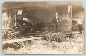 Denver CO~Bloke & 13th Street~Men in Washed out Building~July 1912 Flood RPPC