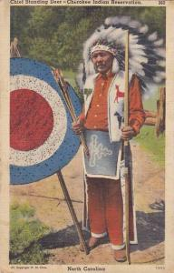 Chief Standing Deer holding bow and arrows next to bulls eye, Cherokee Indian...