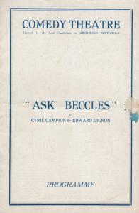 Ask Beccles Sherlock Holmes Comedy Theatre London Theatre Programme