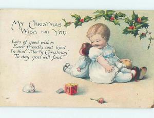 1919 Santa Claus ON RED CROSS CHRISTMAS SEAL STAMP ON BACK OF POSTCARD hk9172