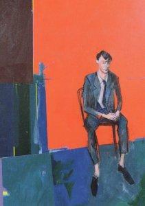 John Wragg Nervous Man Painting Postcard