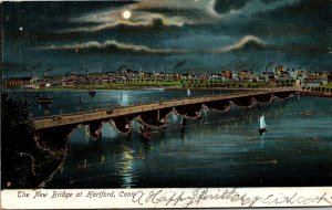 Connecticut Hartford The New Bridge At Night1907