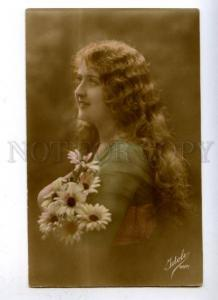 177620 Woman Nymph LONG HAIR chamomile Vintage IDOLE Photo PC
