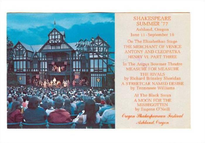 Oregon Shakespearean Festival, Shakespeare Summer '77, Ashland, Oregon, 1970s